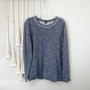 j. crew blue marled jeweled rhinestone sweatshirt
